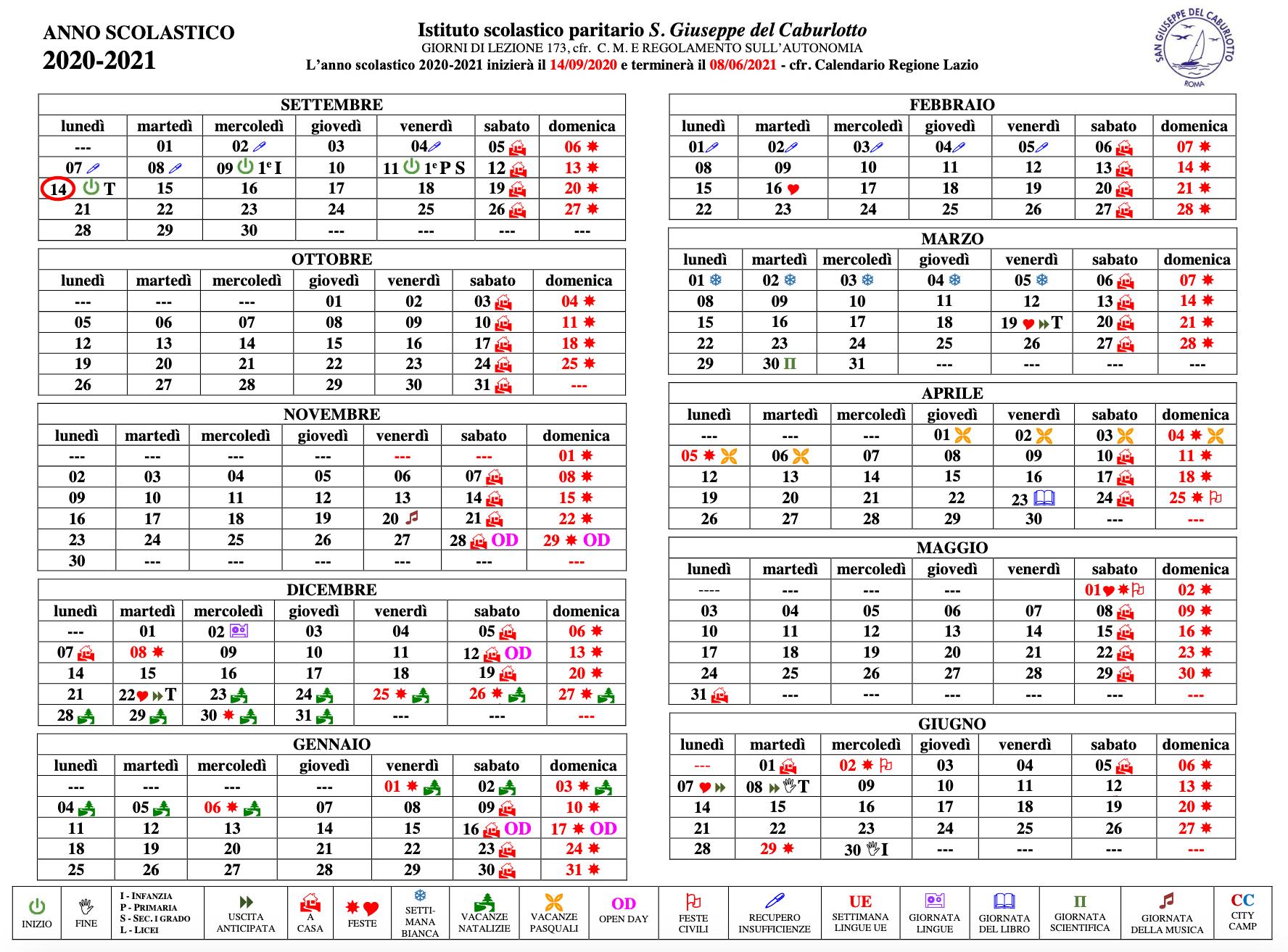 Calendario scolastico icone San Giuseppe del Caburlotto