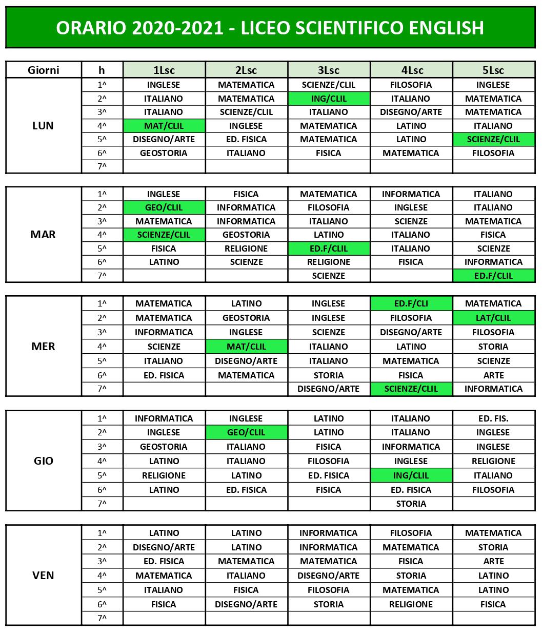 2020-21 Orario scolastico Liceo Scientifico English