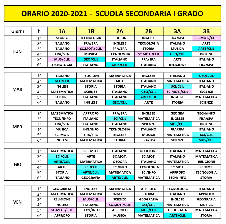 2020-21 Orario scolastico Scuola Secondaria Primo Grado
